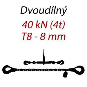 Přivazovací řetěz dvoudílný s háky, třída 8, řetěz 8 mm, upínací síla 40kN