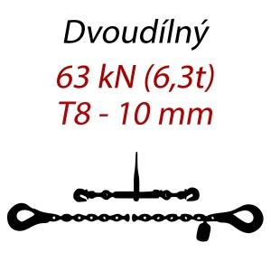 Přivazovací řetěz dvoudílný s háky, třída 8, řetěz 10 mm, upínací síla 63kN