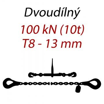 Přivazovací řetěz dvoudílný s háky, třída 8, řetěz 13 mm, upínací síla 100kN