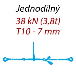 Přivazovací řetěz jednodílný s háky, třída 10, řetěz 7 mm, upínací síla 38kN