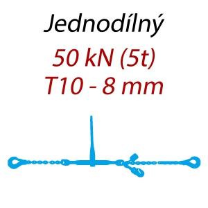 Přivazovací řetěz jednodílný s háky, třída 10, řetěz 8 mm, upínací síla 50kN