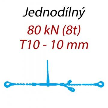 Přivazovací řetěz jednodílný s háky, třída 10, řetěz 10 mm, upínací síla 80kN