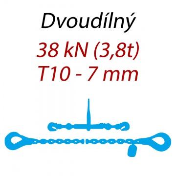 Přivazovací řetěz dvoudílný s háky, třída 10, řetěz 7 mm, upínací síla 38kN