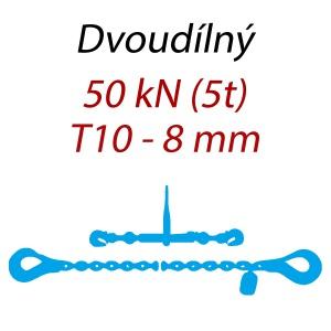 Přivazovací řetěz dvoudílný s háky, třída 10, řetěz 8 mm, upínací síla 50kN