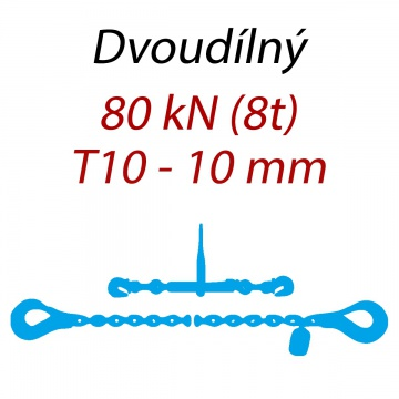 Přivazovací řetěz dvoudílný s háky, třída 10, řetěz 10 mm, upínací síla 80kN