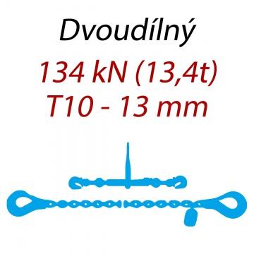 Přivazovací řetěz dvoudílný s háky, třída 10, řetěz 13 mm, upínací síla 134kN