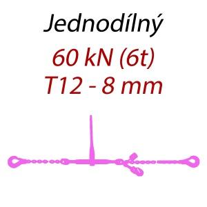Přivazovací řetěz jednodílný s háky, třída 12, řetěz 8 mm, upínací síla 60kN