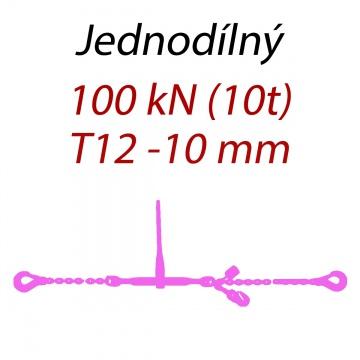 Přivazovací řetěz jednodílný s háky, třída 12, řetěz 10 mm, upínací síla 100kN
