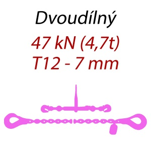 Přivazovací řetěz dvoudílný s háky, třída 12, řetěz 7 mm, upínací síla 47kN
