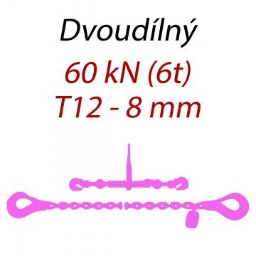 Přivazovací řetěz dvoudílný s háky, třída 12, řetěz 8 mm, upínací síla 60kN
