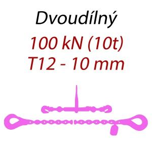 Přivazovací řetěz dvoudílný s háky, třída 12, řetěz 10 mm, upínací síla 100kN