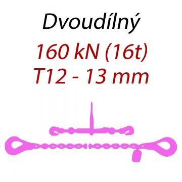 Přivazovací řetěz dvoudílný s háky, třída 12, řetěz 13 mm, upínací síla 160kN