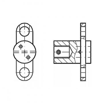 ASS - nerezová křížová svorka se závitem M12 pro připojení na zeď a 2 bočními oky