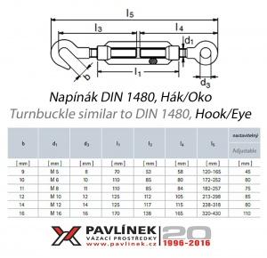 Nerezový napínák O-H (oko-hák), AISI 316 (A4)