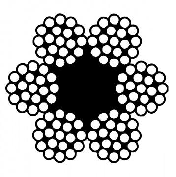Šestipramenné ocelové lano, konstrukce  6x19-FC, pozinkované