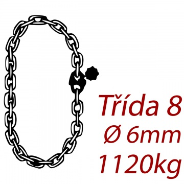 Vázací řetěz třídy 8 nekonečný, průměr 6mm, nosnost pramene 1120kg