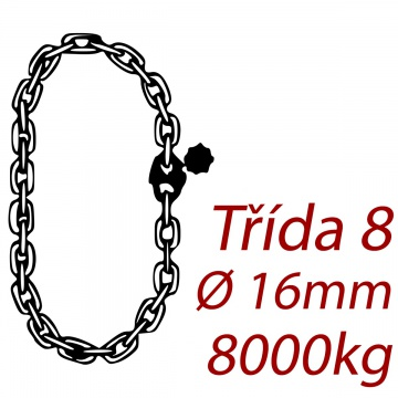 Vázací řetěz jakostní třídy 8 nekonečný průměr řetězu 16mm nosnost 8000Kg