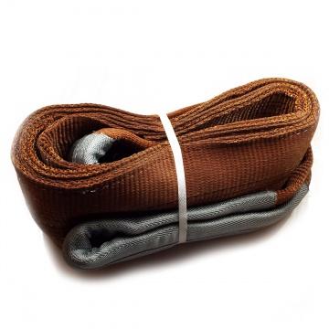 Dvouvrstvý plochý pás s textilními oky B2 - 6000kg, 180mm, hnědý