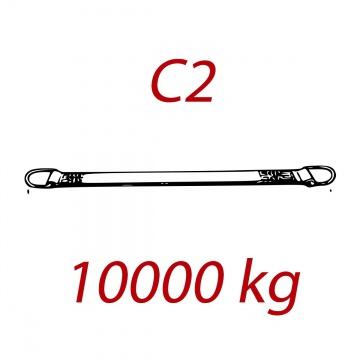C2 - 10000kg, popruh plochý s kovovými neprovlékacími oky, oranžový, šíře 300mm
