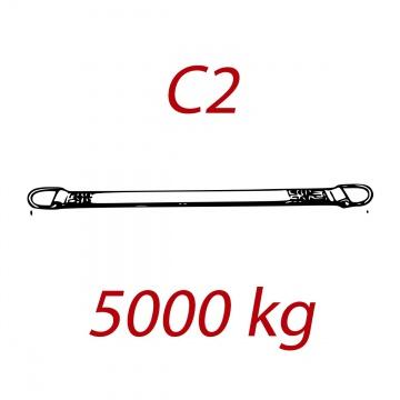 C2 - 5000kg, popruh plochý s kovovými neprovlékacími oky, červený, šíře 150mm