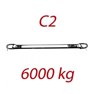 C2 - 6000kg, popruh plochý s kovovými neprovlékacími oky, hnědý, šíře 180mm