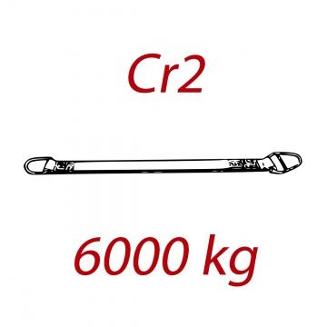Cr2 - 6000kg, popruh plochý s kovovými provlékacími oky, hnědý, šíře 180mm