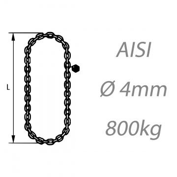 Nerezový vázací řetěz jednopramenný svařovaný, oko-hák, průměr 4mm, nosnost 400kg