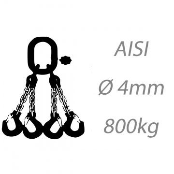 Nerezový vázací řetěz čtyřpramenný svařovaný, oko-hák, 4mm, nosnost 800kg
