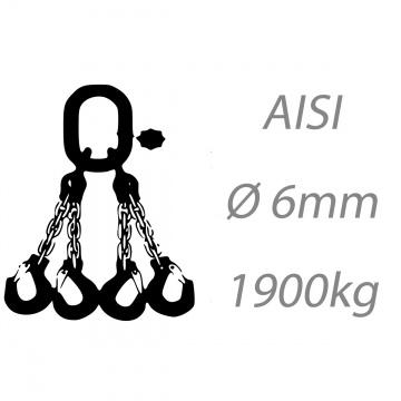 Nerezový vázací řetěz čtyřpramenný montovaný, oko-hák, 6mm, nosnost 1900kg