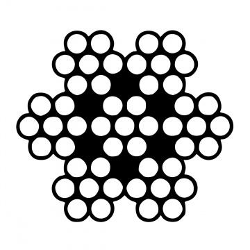 Šestipramenné ocelové lano, konstrukce  6x7-WSC, pozinkované