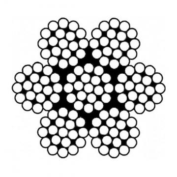 Šestipramenné ocelové lano, konstrukce  6x19-WSC, pozinkované