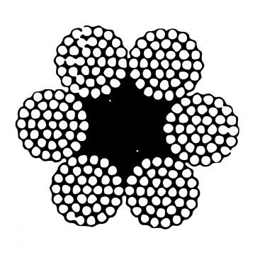 Šestipramenné ocelové lano, konstrukce  6x37-FC, pozinkované