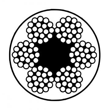 Pozinkované ocelové lano potažené PVC, konstrukce  6x19-FC, PVC transparentní