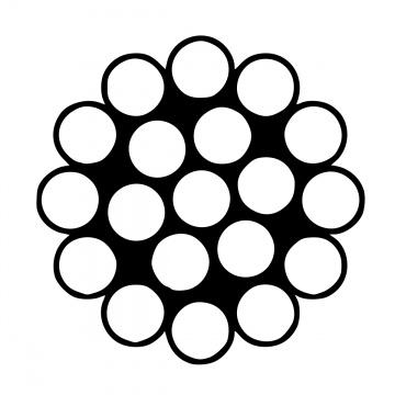 Jednopramenné nerezové lano, konstrukce  1x19, AISI 316