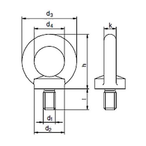 Šroub s okem dle DIN 580, pozinkovaný, metrický standardní závit, materiál C15