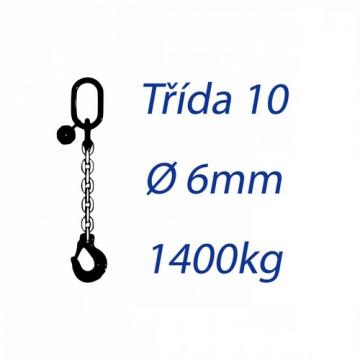 Vázací řetěz třídy 10, jednopramenný, oko-hák, průměr 6mm, nosnost 1400kg