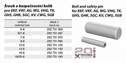 Čep + pružný kolík pro EK / VK / AG / SGC / KV / CWG / GHS / SGB / VHG