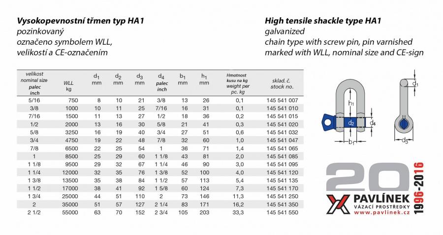 HA1 třmen vysokopevnostní rovný ( D ) s čepem, pozinkovaný