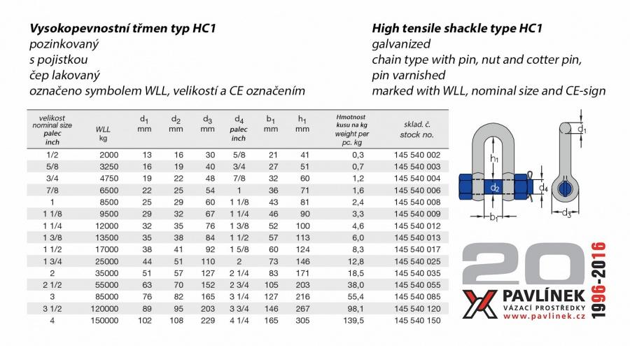 HC1 třmen vysokopevnostní rovný ( D ) s čepem a maticí, pozinkovaný